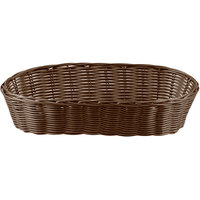Tablecraft 1413 13 inch x 5 inch x 3 inch Brown Oblong Rattan Basket - 12/Pack