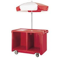 Cambro CVC55158 Camcruiser Hot Red Customizable Vending Cart with Umbrella, 1 Counter Well, and 2 Storage Compartments