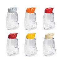 Tablecraft L32A Assorted Option 32 oz. Dispenser Jar with Colored Top 6 / Pack