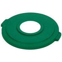Carlisle 341033REC09 Green 32 Gallon Recycling Lid with 8 inch Hole