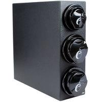 San Jamar L2923BK EZ-Fit Countertop 3 Slot Lid Dispenser Cabinet - 2 3/4 inch to 4 1/2 inch