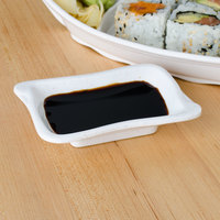 Thunder Group 1607BB Blue Bamboo 2 oz. Melamine Wave Sauce Dish - 12/Pack