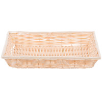 Tablecraft 1189W 16 3/8 inch x 11 3/8 inch Rectangular Woven Rattan-Like Basket   - 3/Pack