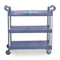 Choice 3 Shelf Gray Utility / Bussing Cart – 42 inch x 20 inch x 38 inch