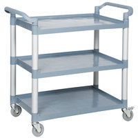Choice Gray Utility / Bussing Cart with Three Shelves- 42 inch x 20 inch