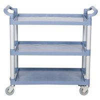 "Choice 42"" x 20"" x 38"" Gray 3 Shelf Utility / Bussing Cart"