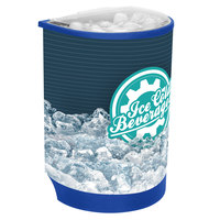 IRP Blue Iceberg 500 60 Qt. Insulated Portable Beverage Cooler / Merchandiser with Lid, Drain, and Semicircular Design