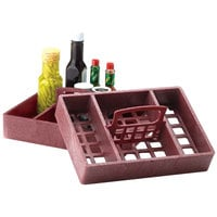 HS Inc. HS1046 7 inch x 10 inch Paprika Polyethylene 4 Bin Tabletop Condiment Organizer - 12/Case