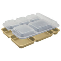 Cambro 10146DCW133 10 inch x 14 3/16 inch Beige 6 Compartment Serving Tray - 24/Case