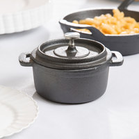 American Metalcraft CIPR42 9 oz. Pre-Seasoned Mini Cast Iron Pot with Lid