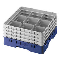 Cambro 9S1114186 Navy Blue Camrack Customizable 9 Compartment 11 3/4 inch Glass Rack