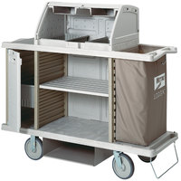 Metro LXHK4-PRO Lodgix Pro Housekeeping Cart- Tall Height with Locking Side Storage and Top Shroud