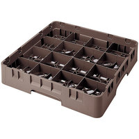 Cambro 16S418167 Camrack 4 1/2 inch High Customizable Brown 16 Compartment Glass Rack