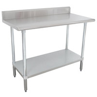 Advance Tabco KMSLAG-245-X 24 inch x 60 inch 16 Gauge Stainless Steel Work Table with Undershelf and Backsplash