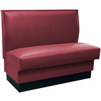 American Tables & Seating QAS-36 Portside Raspberry Plain Single Back Booth 36 inch High - Fully Upholstered Quick Ship