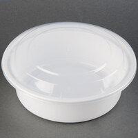 32 oz. White 7 inch Round Microwavable Container with Lid - 150 / Case