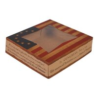 8 inch x 8 inch x 2 inch Auto-Popup Window Cake / Bakery Box with Vintage American Flag / Declaration of Independence Design - 150 / Bundle