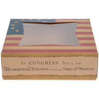 Southern Champion 2480 8 inch x 8 inch x 2 inch Auto-Popup Window Cake / Bakery Box with Vintage American Flag / Declaration of Independence Design - 150/Bundle