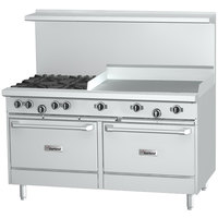 Garland G60-2G48RR Natural Gas 2 Burner 60 inch Range with 48 inch Griddle and 2 Standard Ovens - 214,000 BTU