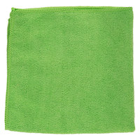 "16"" x 16"" Green Microfiber Cleaning Cloth - 12/Pack"