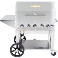 Crown Verity MCB-36 PKG Natural Gas Portable Outdoor BBQ Grill / Charbroiler with Roll Dome, Outdoor Cover, Shelf, and Bun Rack