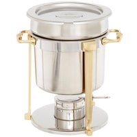 Vollrath 46075 7.25 Qt. Classic Brass Trim Soup Chafer