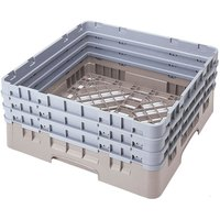 Cambro BR712184 Beige Camrack Customizable Full Size Open Base Rack with 3 Extenders