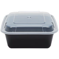 Newspring NC-636-B 36 oz. Black 6 3/4 inch x 6 3/4 inch x 2 5/8 inch VERSAtainer Square Microwavable Container with Lid - 150/Case