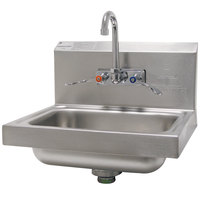 Advance Tabco 7-PS-68 Hand Sink with Splash Mount Faucet and Wrist Handles - 17 1/4 inch x 15 1/4 inch