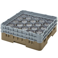 Cambro 20S318184 Camrack 3 5/8 inch High Beige 20 Compartment Glass Rack