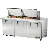 True TSSU-72-24M-B-ST 72 inch Mega Top Three Door Sandwich / Salad Prep Refrigerator