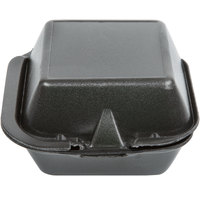 Genpak SN225-BK 6 inch x 6 inch x 3 inch Black Foam Container with Hinged Lid - 500/Case