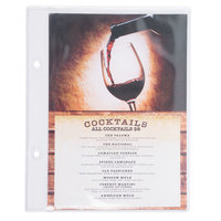 Menu Solutions MIDBPP Clear 2-Hole Page Protectors for Middle Ring Menu Tents - 25/Pack