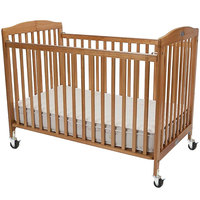 L.A. Baby CS-983-A-N 28 inch x 52 inch Natural Wood Folding Crib