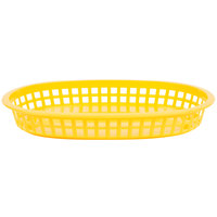 10 3/4 inch x 7 inch x 1 1/2 inch Yellow Oval Plastic Fast Food Basket - 12/Pack