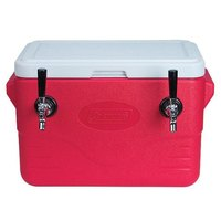 Micro Matic CB282R Red 2 Faucet 28 Qt. Insulated Jockey Box with 50 ft. Coils