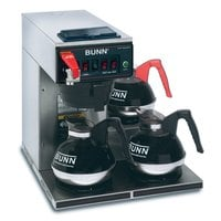 Bunn CWTF35-3 Automatic 12 Cup Coffee Brewer with 3 Lower Warmers - Black Plastic Funnel 120/240V (Bunn 12950.0252)