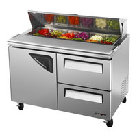 Turbo Air TST-48SD-D2 48 inch Super Deluxe Stainless Steel Refrigerated Salad / Sandwich Prep Table with Deluxe Shelving - One Door, Two Drawers