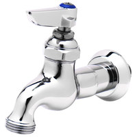 T&S B-0717 Single Sink Faucet with 1/2 inch NPT Male Inlet, Lever Handle, Blue Index, and 3/4 inch Garden Hose Outlet
