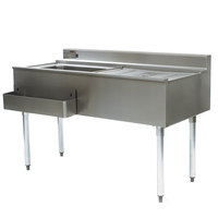 Eagle Group CWS4-18L 48 inch Underbar Work Station with Left Mount Ice Bin and Drain Board