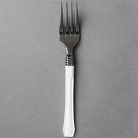"WNA Comet RFDFK480W Reflections Duet 7"" Stainless Steel Look Heavy Weight Plastic Fork with White Handle - 480/Case"