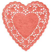 6 inch Red Paper Heart Doilies - 1000/Case