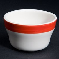 CAC R-4-R Rainbow 7.25 oz. Red Rolled Edge Stoneware Bouillon Bowl - 36/Case