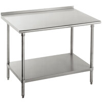 Advance Tabco SFG-304 30 inch x 48 inch 16 Gauge Stainless Steel Commercial Work Table with Undershelf and 1 1/2 inch Backsplash