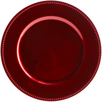 Tabletop Classics by Walco TRR-6655 13 inch Red Round Plastic Charger Plate with Beaded Rim