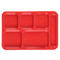 Carlisle P614R05 10 inch x 14 inch Red Right Hand 6 Compartment Tray