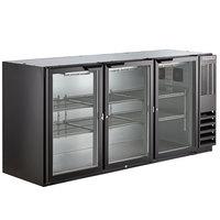 Beverage-Air BB72HC-1-G-B 72 inch Black Underbar Height Glass Door Back Bar Refrigerator
