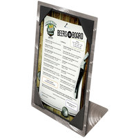 Menu Solutions MTPIX-46 Aluminum Menu Tent with Picture Corners - Swirl Finish - 4 inch x 6 inch
