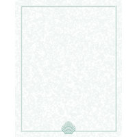 8 1/2 inch x 14 inch Menu Paper - Green Shell Border - 100 / Pack