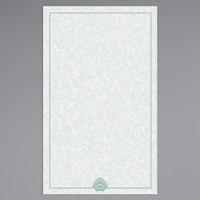 8 1/2 inch x 14 inch Menu Paper - Green Shell Border - 100/Pack